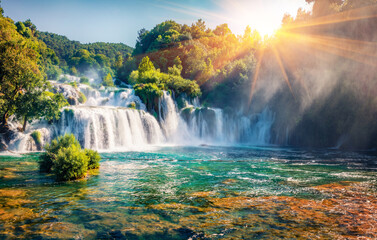 Captivating morning scene of Krka National Park, Lozovac village location, Croatia, Europe. Amazing sunrise on Skradinski Buk waterfall. Beautiful world of Mediterranean countries.