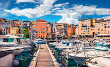 Bright Spring Cityscape Of Bastia Port. Colorful Morning View Of Corsica Island, France, Europe. Beautiful Mediterranean Seascape With Yacht. Traveling Concept Background.