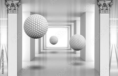 3d mural digital illustration silver tunnel with sphere and columns Billede på lærred