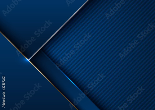Obraz na plátně Abstract elegant template blue geometric with gold metallic line layer background