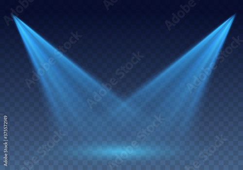 Obraz Blue scanner or laser effect. Glowing stage light rays isolated on transparent background. Vector bright scene spotlight projector beams - fototapety do salonu