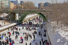 Many People Ice Skating On The Frozen Rideau Canal On A Cold Winter Day During The Winterlude Festival In Downtown Ottawa, Capital Of Canada