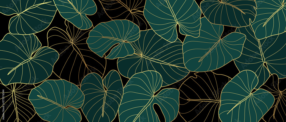 Fototapeta Luxury golden art deco wallpaper. Nature background vector. Floral pattern with golden split-leaf Philodendron plant with monstera plant line art on green emerald color background