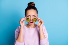 Photo Of Astonished Tourist Cute Girl See Look Incredible Sale Discount Novelty Cant Believe Touch Specs Stare Stupor Impressed Wear Pullover Isolated Over Blue Color Background
