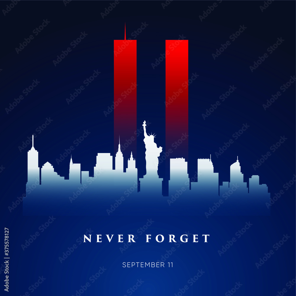 Fototapeta 9/11 Patriot Day banner. USA Patriot Day card. September 11, 2001. We will never forget you. Vector design template for Patriot Day.