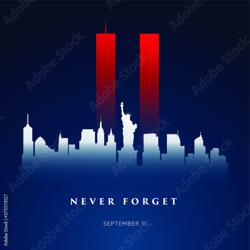 9/11 Patriot Day banner. USA Patriot Day card. September 11, 2001. We will never forget you. Vector design template for Patriot Day. - 375578127