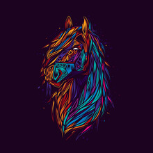 Original Abstract Vector Illustration. Horse In Neon Retro Style. Design For T-shirt Or Sticker