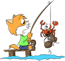 Cartoon Cat Caught A Crab On A Boot While Fishing Vector Illustration