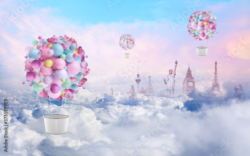 Wallpaper spring landscape with balloons