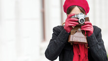 Young Woman With Retro Camera ...