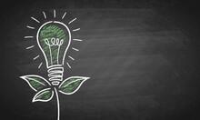 Green Energy Light Bulb Chalk Board Vector Background