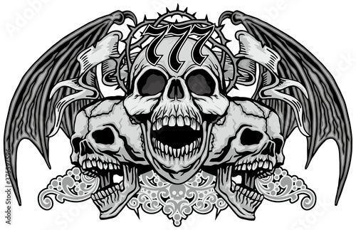 Gothic sign with skull and wings, grunge vintage design t shirts Fototapet