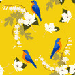 Seamless vector illustration with hibiscus flowers and birds