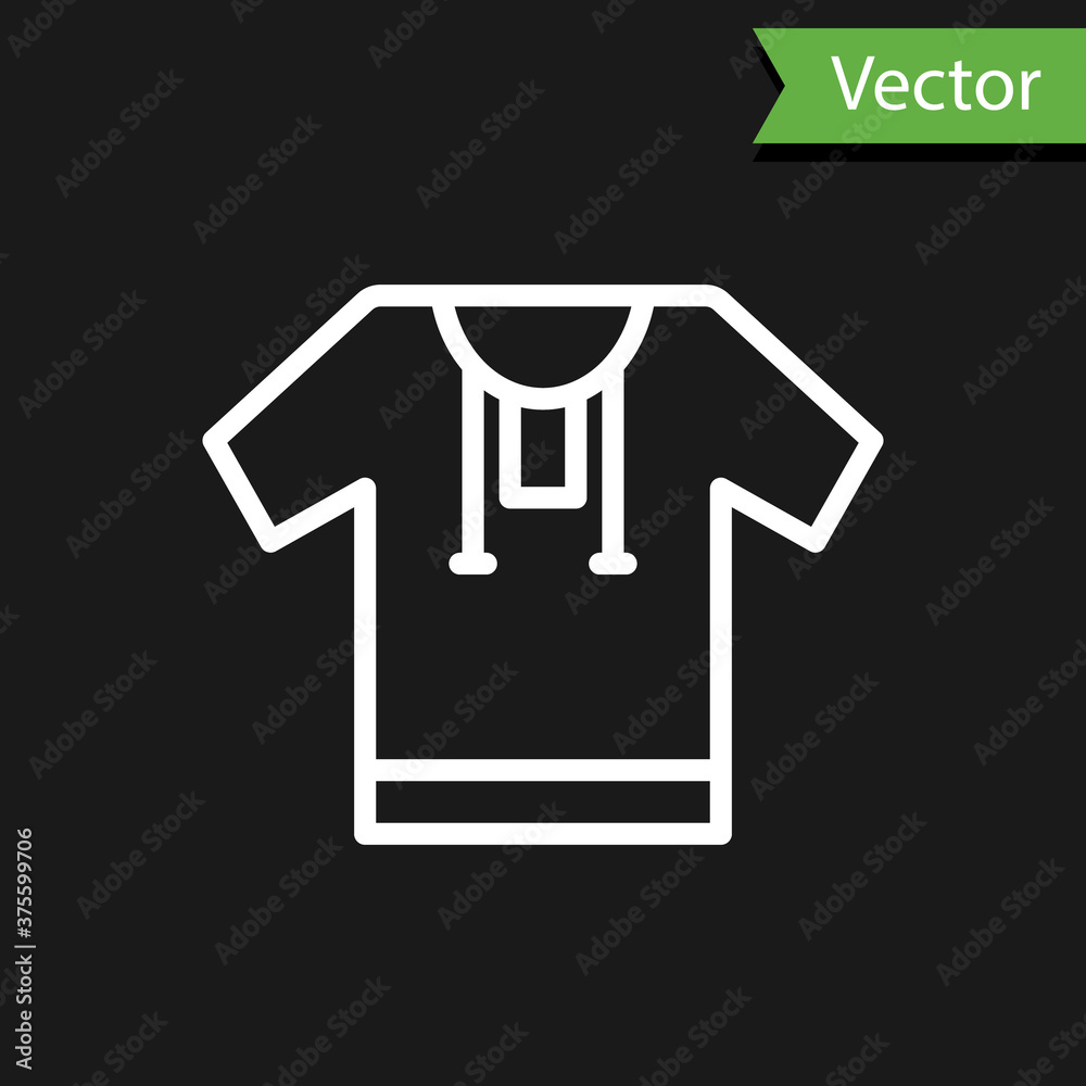 White line Embroidered shirt icon isolated on black background. National ukrainian clothing. Vector.