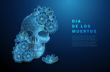 Scull With Flowers. Dia De Los...