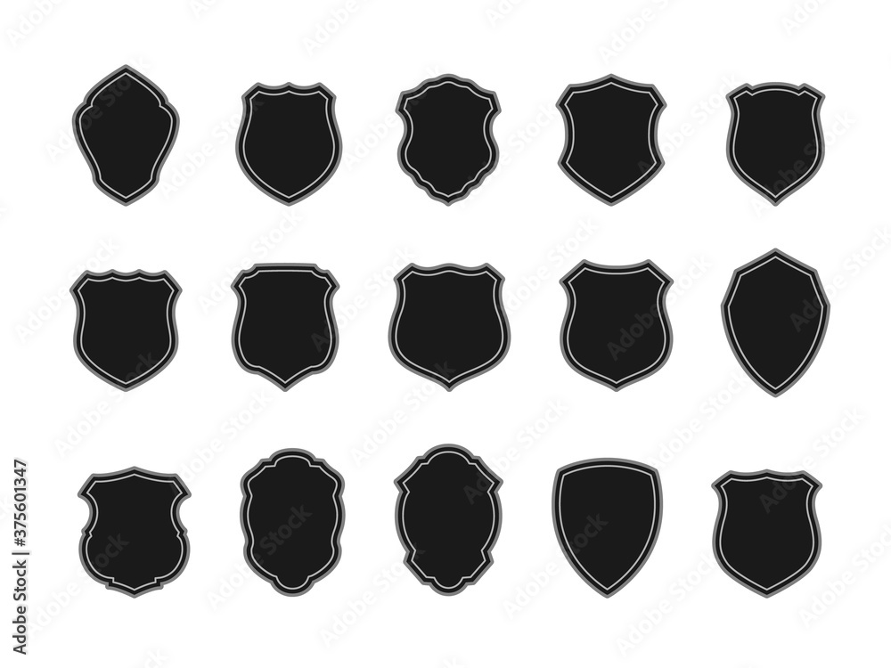 Fototapeta Vector Set of Black Badges in Shape of Shields