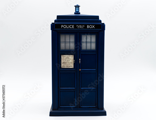 Canvas Print Police call box in front of white background