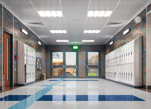 Fototapeta Long school corridor with yellow lockers , 3d illustration