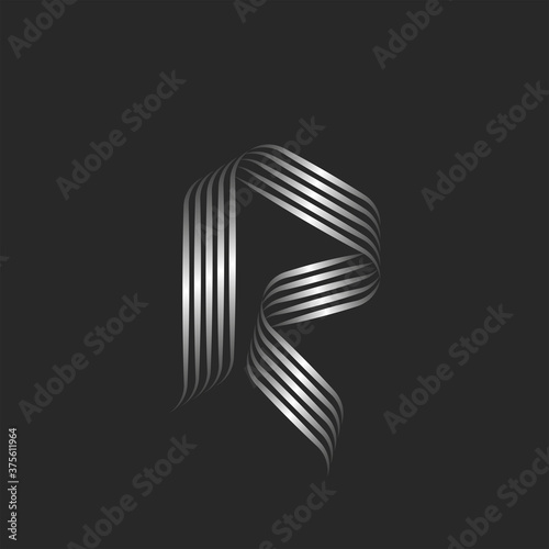 Monogram letter R logo minimal style with curls, weaving metallic ribbons from smooth thin lines, rounded decor calligraphic initial