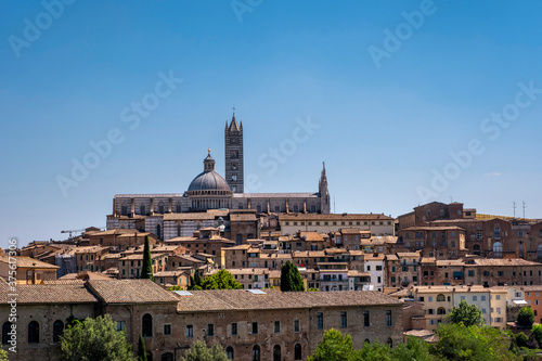 Fotografie, Obraz Beautiful view of Dome and campanile of Siena Cathedral, Duomo di Siena