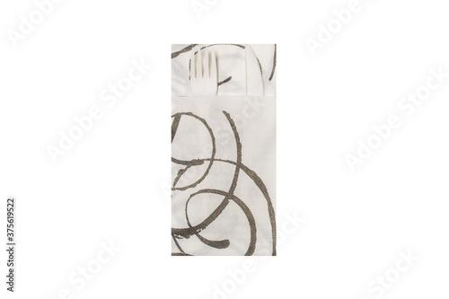 Photographie Quick pocket magie nero fotografato su sfondo bianco - posate di plastica bianca