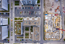 Aerial Top View Of Construction Site. Building New Apartment Blocks In Residential Area.