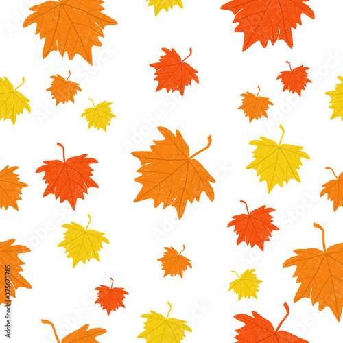 Fotografie, Obraz seamless pattern with colorful maple leaves