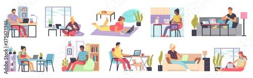 Men and women working home Slika na platnu