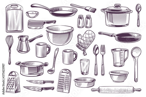 Fototapeta Sketch cooking equipment. Hand drawn doodle kitchen utensils set cooking pot and knife, spoon and cup, cutting board engraving style gastronomy culinary vector isolated collection obraz