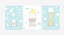 Cute Posters With Little Rabbit, Elephant, And Giraffe Vector Prints For Baby Room, Baby Shower, Greeting Card, Kids And Baby T-shirts, And Wear. Hand Drawn Nursery