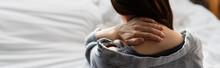 Website Header Of Brunette Woman Suffering From Neck Pain In Bedroom