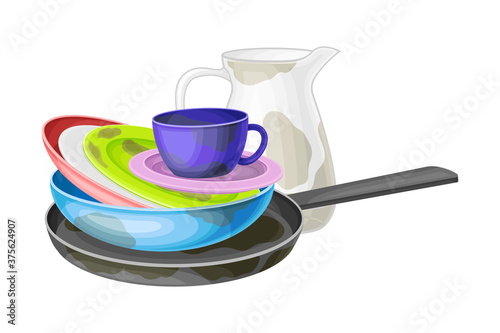 Tablou Canvas Dirty Utensils and Dishes Piled for Washing Up Vector Illustration