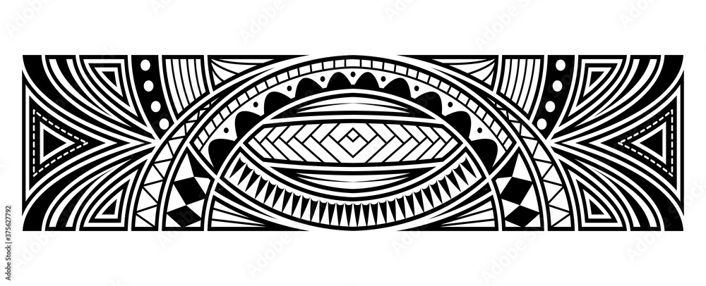 Fototapeta Abstract tribal art tattoo border
