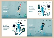 Set Of Website Banners For Diving School And Equipment Flat Vector Illustration.