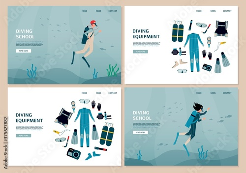 Canvas Print Set of website banners for diving school and equipment flat vector illustration