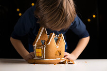 Young Boy Closely Inspecting Remains From A Broken Gingerbread House, Eating The Sweet Glazing. Looking For Tasty Dessert Leftovers