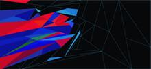 Red, Blue And Black Fractal Background