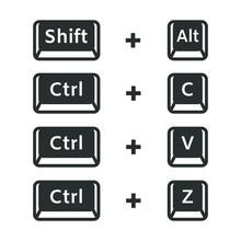 Shift Alt, Ctrl C, Ctrl V, Ctrl Z, Keyboard Buttons Shortcuts Vector