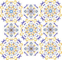 Yellow And Purple Patterns On The White Isolated Background