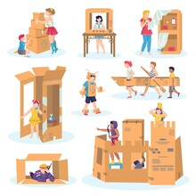 Kids Play With Cardboard Set Of Vector Isolated On White Illustrations. Boy In Medieval Knight Costume And Castle Made Of Cardboards, Girls Game, Craft Carton Fantasy Houses, Boat, Car. Imagination.