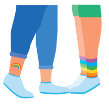 Feet Of Gay Or Lgbtq Couple As Homosexuality And Tolerance Concept, Flat Vector Stock Illustration Isolated On White Background