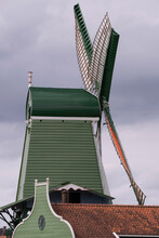 The Sawmill Or Crowned Poelenburg, A Windmill At The River Zaan In The Zaanse Schans, The Netherlands