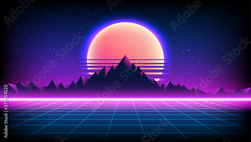 80s Retro Sci-Fi Background with Sunrise or Sunset night sky with stars, mountains landscape infinite horizon mesh in neon game style Fotobehang