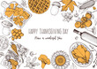 Thanksgiving food banner design. Thanksgiving illustration. Food hand drawn sketch. Festive dinner with turkey. Autumn food sketch. Engraved image. Vector thanksgiving background.