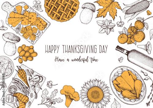 Obraz Thanksgiving food banner design. Thanksgiving illustration. Food hand drawn sketch. Festive dinner with turkey. Autumn food sketch. Engraved image. Vector thanksgiving background. - fototapety do salonu