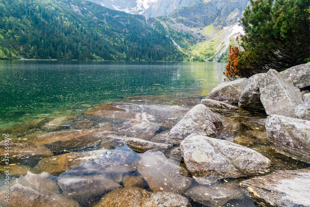 Beautiful view of Eye of the Sea lake in Tatra National Park.