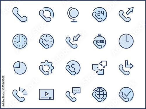 Set of Phone vector line icons Billede på lærred