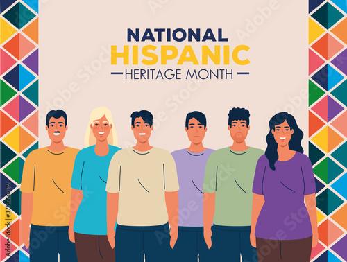 Fotografía national hispanic heritage month with group of people multiethnic vector illustr
