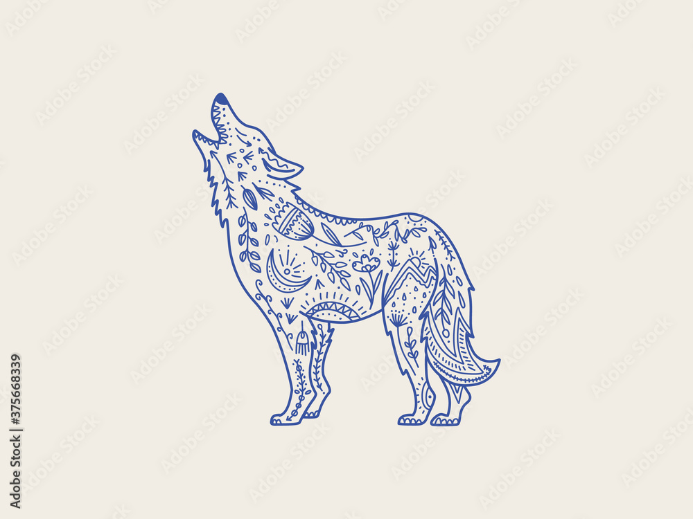Scandinavian folk animal in line style. Wolf with ornate decoration, symbols, floral pattern.