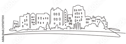 Modern cityscape continuous one line vector drawing. Metropolis architecture panoramic landscape. New York skyscrapers hand drawn silhouette. Apartment buildings isolated minimalistic illustration #375677354